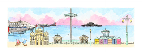 Brighton Sightseeing print by Clare Harms
