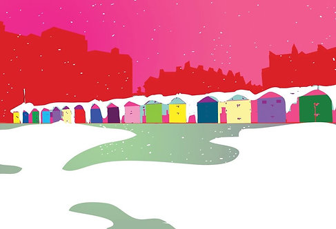 Greetings Card Beach Huts by Duncan Allan