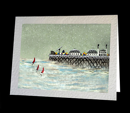 Greetings Card Snowing by the Pier by Serena Sussex