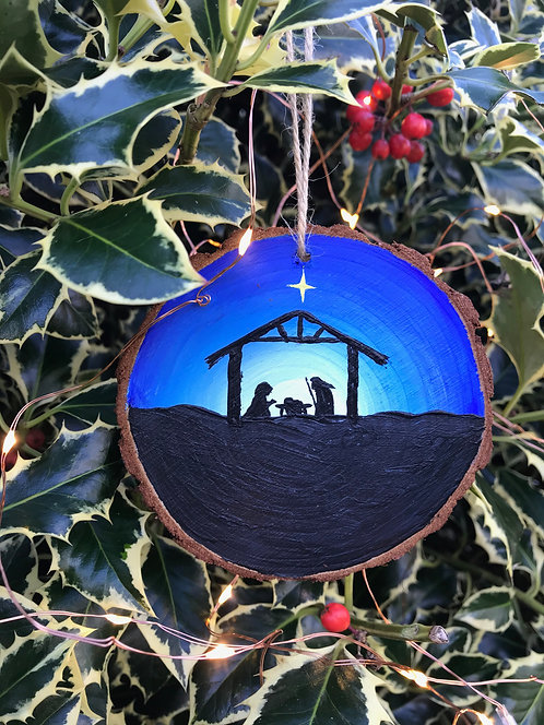 Shining Star painted wood slice by Emily Grocott