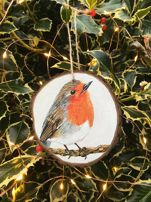 Robin painted wood slice by Emily Grocott