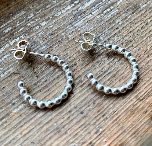 Solid Sterling Silver beady half-hoop stud earrings by Alison Crowe