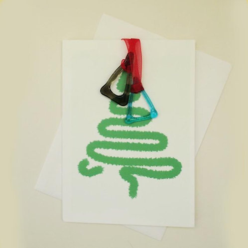 Christmas Tree Card with glass tree decoration by Jill Iliffe