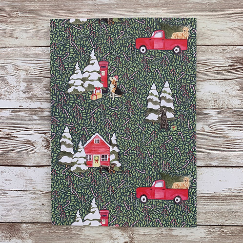 A5 notebook with Christmas Dog print by Samantha Hall