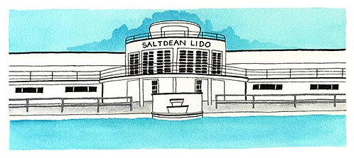 Saltdean Lido print by Clare Harms