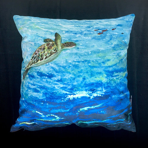 Turtle Swimming Up Cushion by Serena Susse