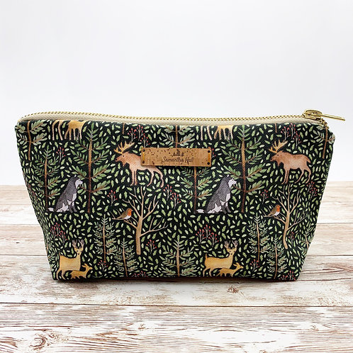 Cosmetic bag with animals of the forest print by Samantha Hall