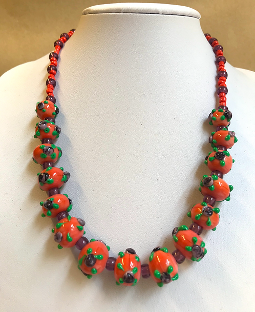 Glass lampwork bead necklace by Norma Murray