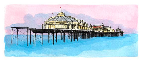 West Pier Before She Fell print by Clare Harms