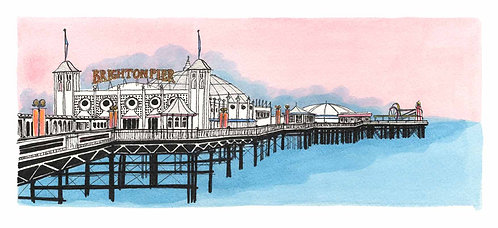 Pier Pink print by Clare Harms