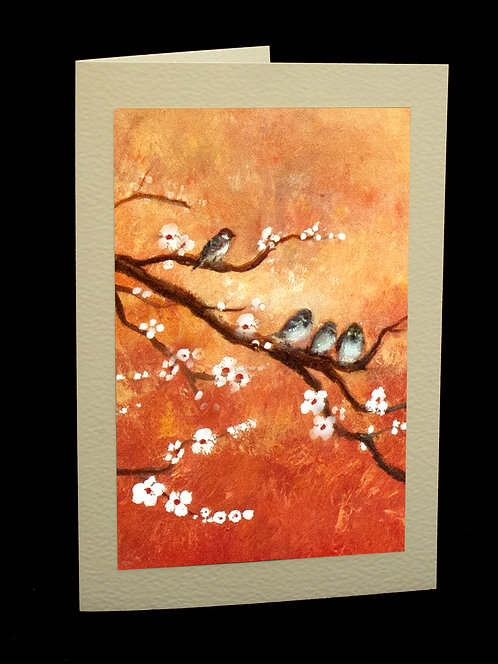 Sparrows in Spring Blossom Greetings Card by Serena Sussex