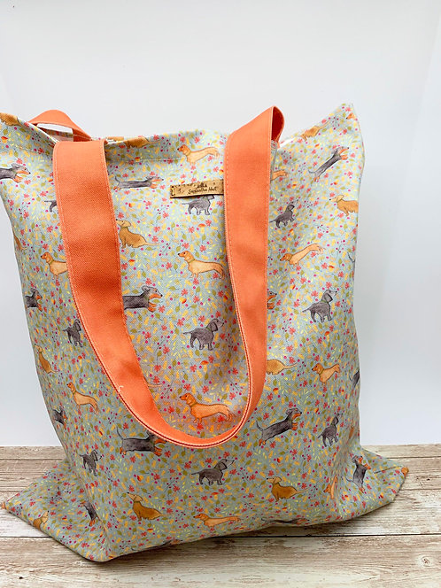 Tote bag with Dachshund print by Samantha Hall