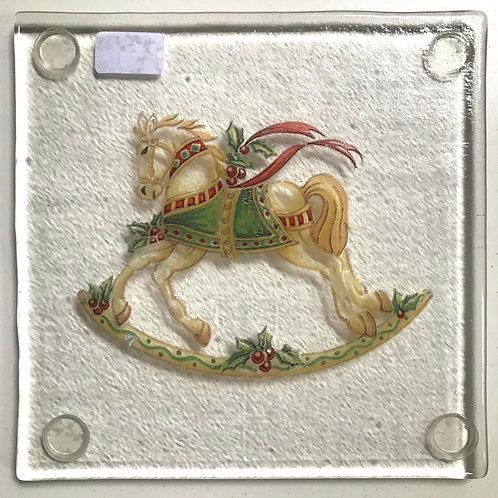 Glass Christmas Rocking Horse coaster byJill Iliffe
