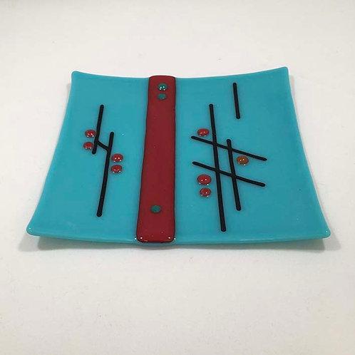 Blue Square Glass Dish byJill Iliffe
