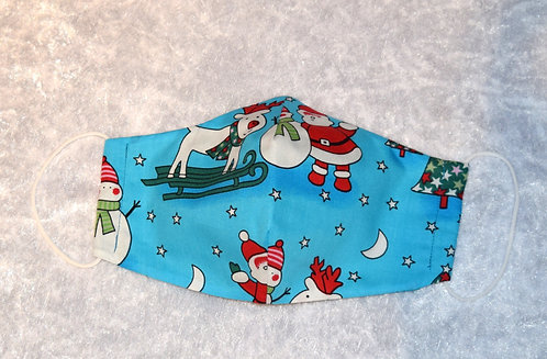 Face Mask with Blue Christmas pattern by Pamela Holmes