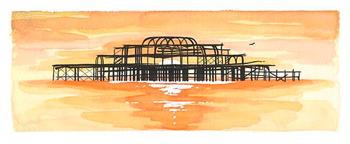 West Pier Sunset print by Clare Harms