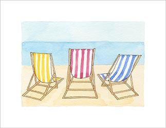 Summer Beach Deckchairs print by Clare Harms