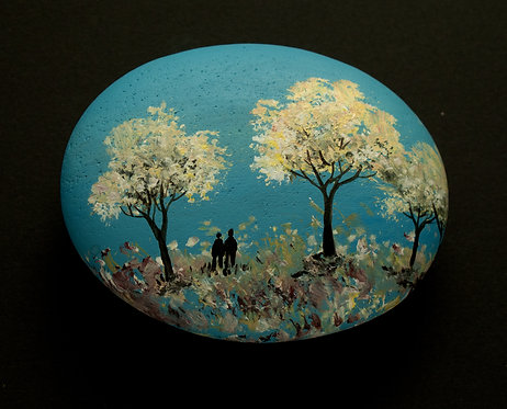 Woodland Walk  painted stone by Serena Sussex