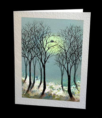 Greetings Card Owls in the Snowy Woods by Serena Sussex