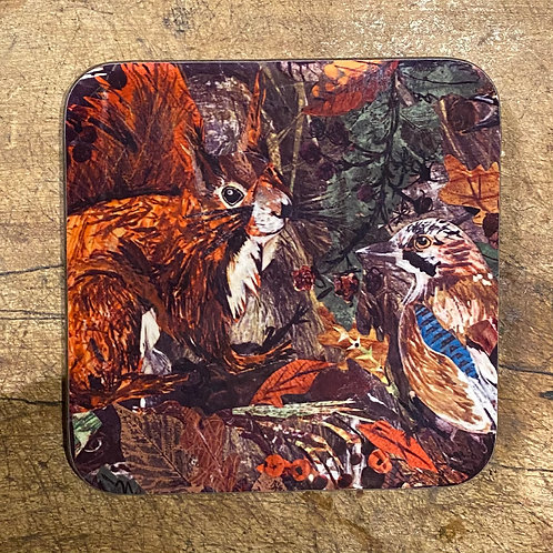 Autumn Squirrel Coaster by Clare O'Neill