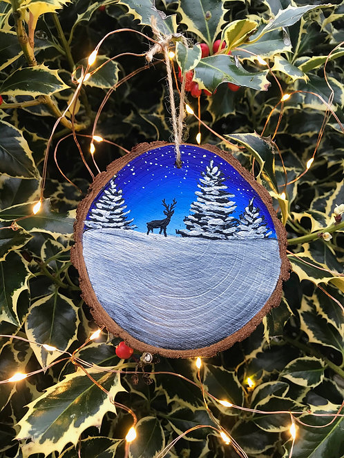 Snow at Twilight painted wood slice by Emily Grocott