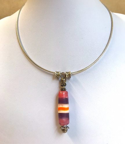Glass lampwork bead silver chain necklace by Norma Murray