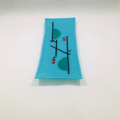 Blue Rectangular Glass Dish byJill Iliffe