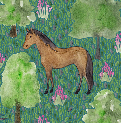Mustang Horse Greetings card by Samantha Hall