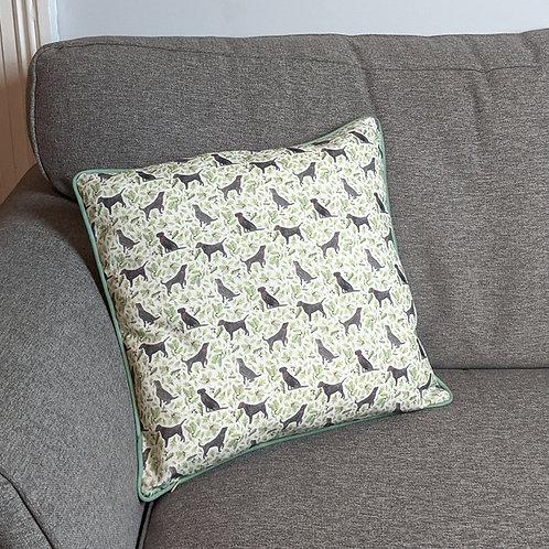 'Black Labrador' Cushion by Samantha Hall