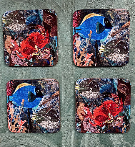 Set of Four Seabed Coasters by Clare O'Neill