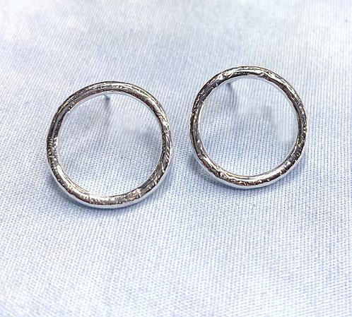 Sterling Silver Circle Stud Earrings by Alison Crowe