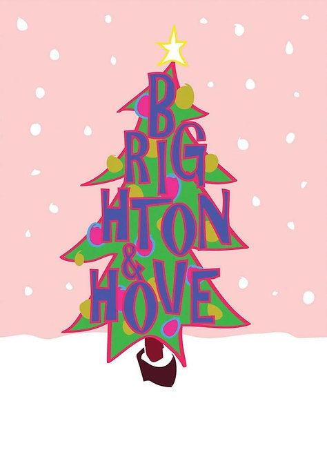 Greetings Card Brighton & Hove Christmas Tree by Duncan Allan