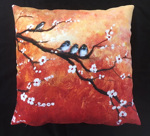 Sparrows Resting in Blossom Cushion by Serena Sussex