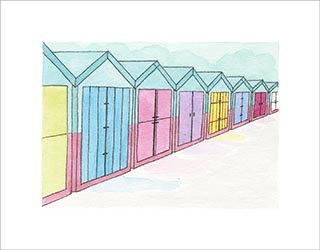 Summer Beach Huts print by Clare Harms