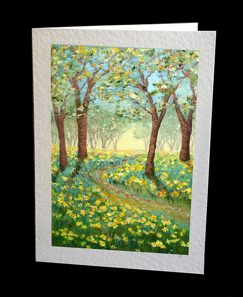 Daffodils Woods Greetings Card by Serena Sussex