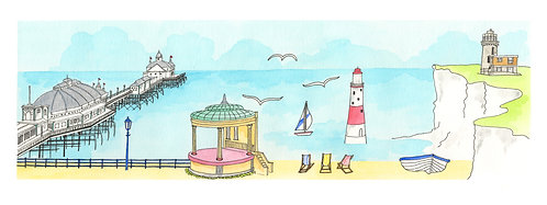 Eastbourne Daytripper print by Clare Harms