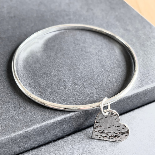 Sterling Silver Heart Charm Bangle by Alison Crowe