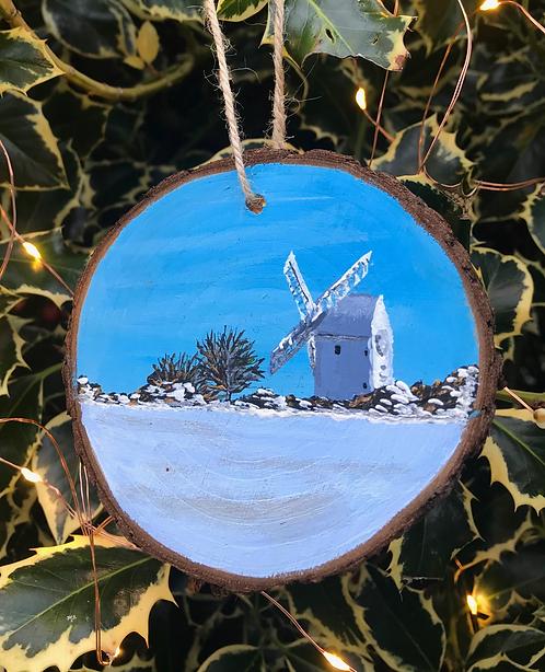Jill Windmill in Snow painted wood slice by Emily Grocott
