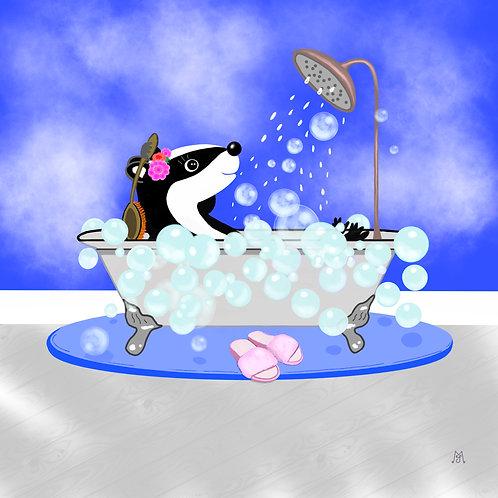 Greetings Card of Binkie in the Bath by Julie McDonald