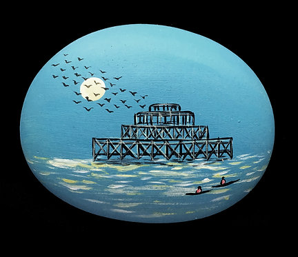 West Pier painted stone by Serena Sussex