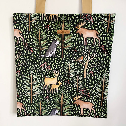 Tote bag with animals of the forest print by Samantha Hall