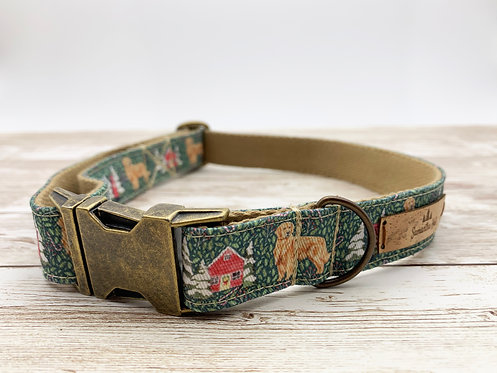 Dog collar with Christmas Golden Retriever print by Samantha Hall