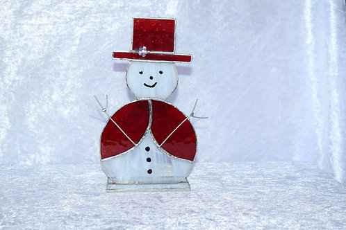 Stained Glass Large Snowman in Top Hat by Pam Holmes