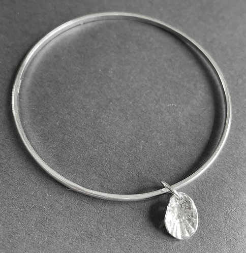 Sterling Silver Seashell Charm Bangle by Alison Crowe