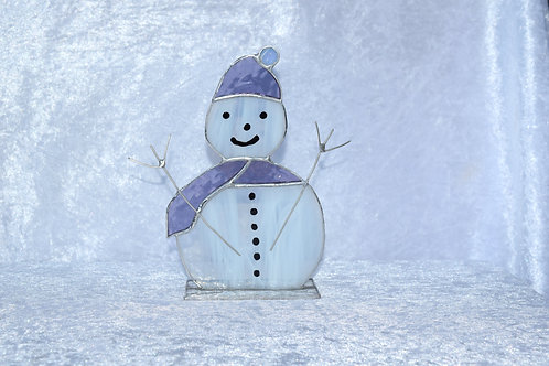 Stained Glass Large Snowman in Bobble Hat by Pam Holmes