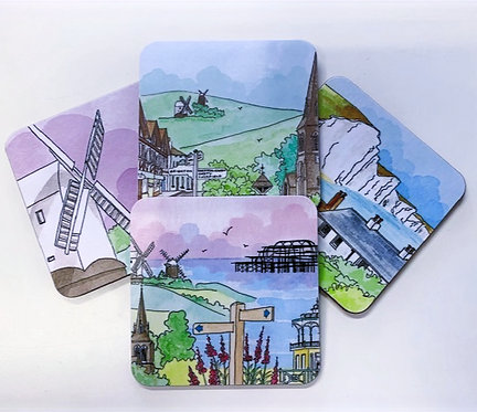 Set of Four 'Sussex' Coasters by Clare Harms