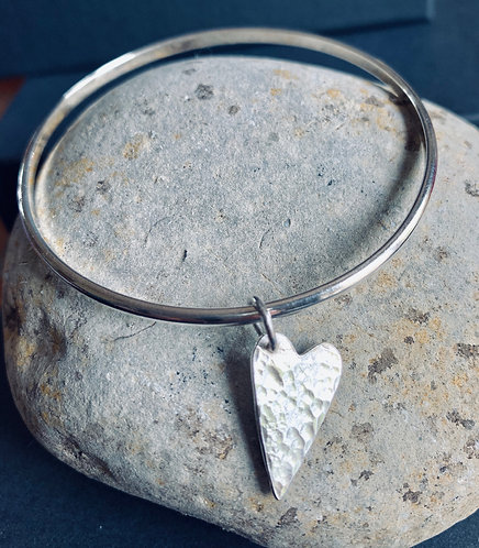 Sterling Silver Long Heart Charm Bangle by Alison Crowe