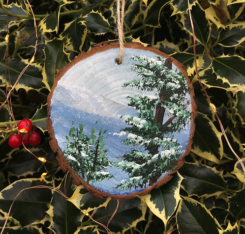 Scots Pine painted wood slice by Emily Grocott