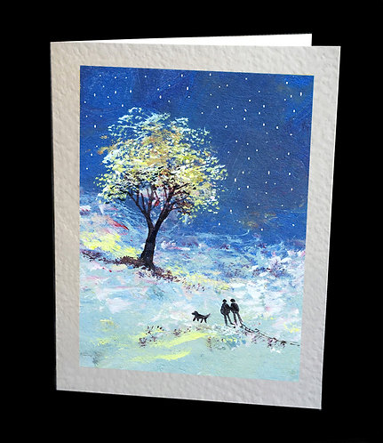 Greetings Card Walking in the Snow by Serena Sussex