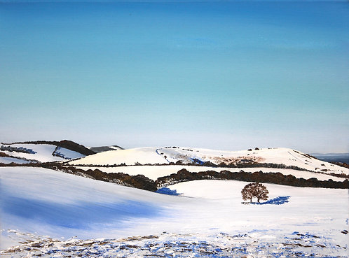 Giclee Print of Wolstonbury Hill in snow by Emily Grocott